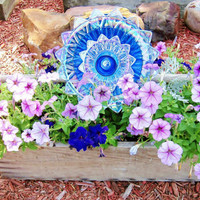 Garden Art Cobalt Blue Glass Plate Flower Yard Stake Repurposed Upcyled DANA