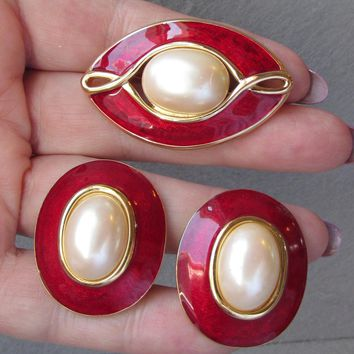 Monet Red Enamel Faux Pearl 1990 S Vintage Pin Earring Set