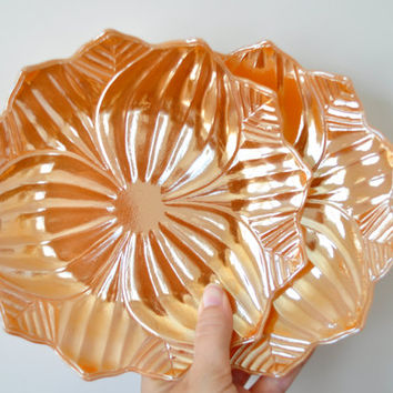 Vintage Fire King Leaf Plate, Lotus Blossom Plate, Peach Luster, Milk Glass