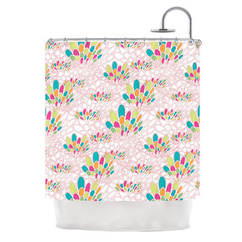 "Miranda Mol ""Blown Away"" Pink Multicolor Shower Curtain"