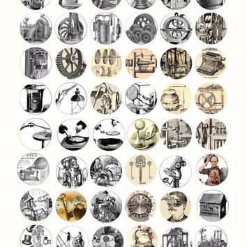 antique machines inventions steampunk clip art 1 inch circles collage sheet Download for pendants bottle caps magnets bezels cabochons
