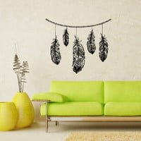 Wall Vinyl Decals Feathers Fashion Hippie Sticker Art Home Modern Stylish Interior Decor for Any Room Housewares Murals Design Window Graphic Bedroom Living Room (5217)