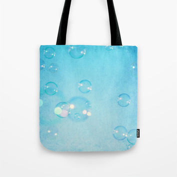 Art Tote beach Bag Blue Bubbles fine art photography summer Fashion photograph photo sky aqua bokeh geometric circles ethereal light bubble