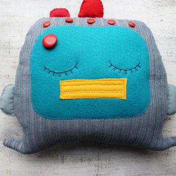 Stuffed robot pillow nursery decor 12x15 inches primitive stuffed sleepy toy baby shower gift