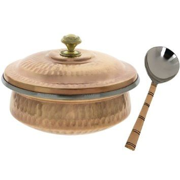 Indian Serveware Accessories Vegetable Serving Bowl Tureen with Ladle, Copper and Stainless Steel, Diameter 6 Inches