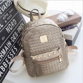 2016 High PU Leather Women Backpack with Knitting Rivet Japan Korean Style Rucksack Teenager Girl Hand-made Bags(NVB025-47)