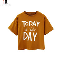 Women Brown Short Sleeve Letter Graphic Prints Loose Casual Crop Top Jersey Short T-shirt 2015 Summer Fashion