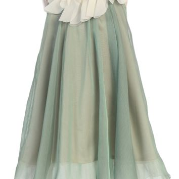 Girls Sage Green Chiffon Shift Dress w. Ivory Petal Trim 2T-14
