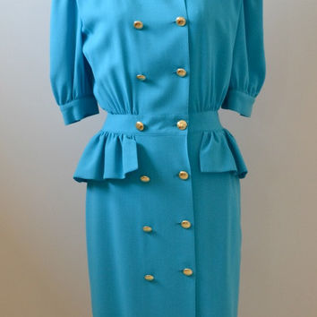 ESCADA Vintage Light Blue Sleeved Dress