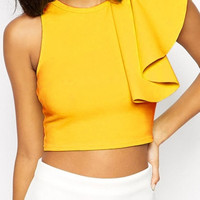Yellow One-shoulder Ruffled Sleeve Cropped Top