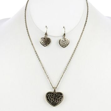 Filigree Heart  Curb Chain Heart Cutout Aged  Finish  Necklace Earring Set