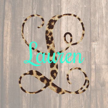 Leopard Single Initial & Name Decal | Name Decal | Name and Initial Monogram | Single Initial Monogram | Leopard Monogram