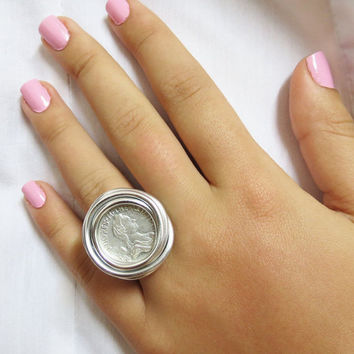 Jewelry Coins Ring, Unisex Ring, Wrapped Ring, Silver Coin Ring, Adjustable Ring, Silver Coins, Wire Wrapped Ring, Coin Jewelry, Men Gift,