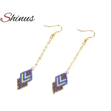 Shinus Earrings Women Drop Earring Woven Beadwork Pattern Boho Gold Color Handmade Miyuki Beads Delicas Jewelry Girlfriend Gift