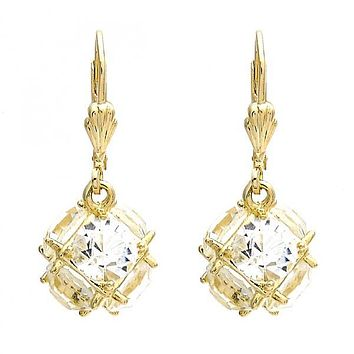 Gold Layered Dangle Earring, Ball Design, with Cubic Zirconia, Gold Tone