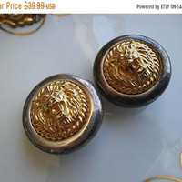 ON SALE Lion Earrings, Vintage Clip On Earrings, Retro Rockabilly Style Jewelry