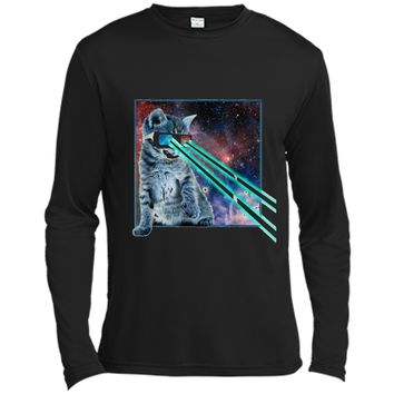 Captain Laser Cat | 3D Glasses | Space | Galaxy | Kitty Eye Long Sleeve Moisture Absorbing Shirt