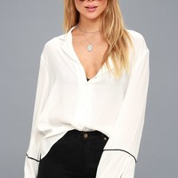 Cindera Sheer White Flounce Sleeve Button-Up Top