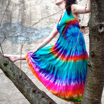 Rainbow Tie-dye Maxi Dress, Women's Sizes L-XL