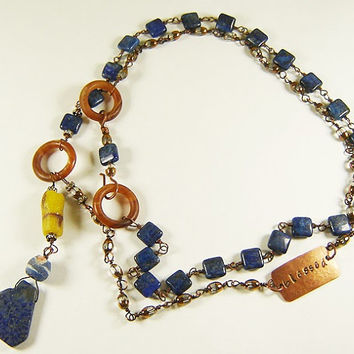 Bohemian Lapis Gemstone Necklace with Old African Sand Beads, Hand Stamp Spiritual Necklace, Healing Jewelry