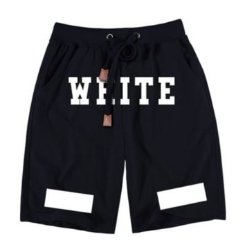 Off White New fashion letter print couple shorts Black
