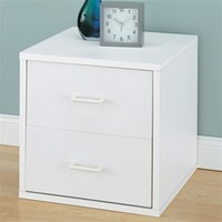 Bedside 2 Drawer White Nightstand - Dorm room organizing space saver college dorm room organizer dorm stuff dorm room needs