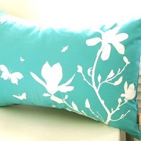 Limited Time Sale Mint Magnolia and Butterfies Rectangle Pillow
