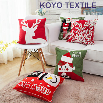 Chain Embroidered Decorative Cotton Christmas Snowman Deer Snowflake Gift Sofa Car Cushion Cover Throw Pillow Cover Case