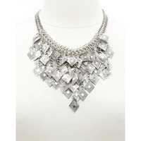 DANGLY GEOMETRIC BIB NECKLACE