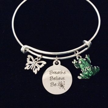 Breathe Believe Be Inspirational Charm Bracelet Expandable Silver Bangle One Sized Fits All Gift Butterfly Green Frog