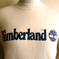 vintage 90's Timberland graphic logo sweatshirt, cream natural white dark blue print, men's women's unisex fleece pullover crew neck, made i