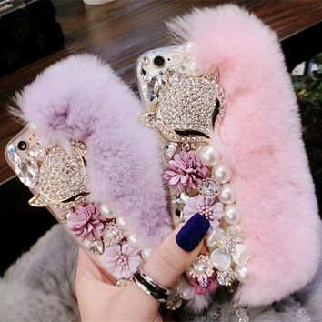 Luxury Bling Warm Soft Beaver Rabbit Fur Hair & Flowers TPU Phone Cases for iphone X 5S 5C 6s 7 7Plus 8 8Plus Protective Phone