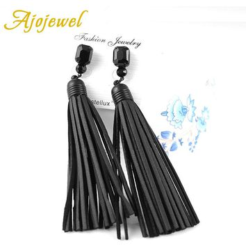 Ajojewel Trendy Vintage Black Glass Crystal Long Tassel Designer Handmade Red / Black Leather Earrings For Women