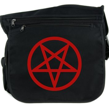 Red Inverted Pentagram Cross Body Messenger School Bag Goth Punk Occult