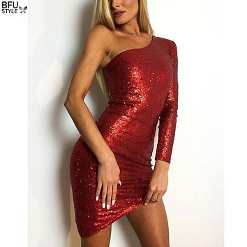 2018 Sexy Long Sleeve Off Shoulder Sequin Backless Red Black Dresses Women Skinny Maxi Party Elegant Dress Club Bodycon