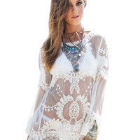 White Crochet Tunic