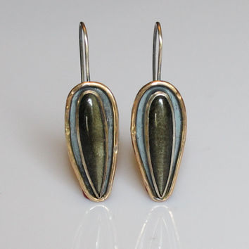 mixed metal earring - gold earring - golden obsidian earring - long black gemstone earring - rustic oxidized earring - long teardrop earring