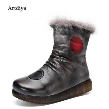 Genuine Leather Winter Boots 2017 New Brush Color Snow Boots Handmade Vintage Warm Women Boots LL896-102