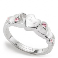 Coach :: Sterling Open Heart Stone Ring