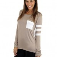 Taupe Top With Pocket