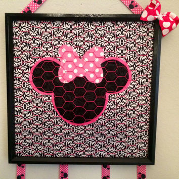 Minnie Mouse Bow photo jewelry holder organizer bulletin board playroom children bedroom decor lime green pink black embellish gift idea