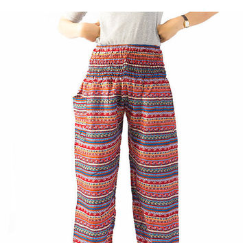 hippie clothes/Bangkok pants boho pants Tribal pants elephant pants/bohemian pants/peacock design/Aladdin Pants/Harem pants/gypsy pants