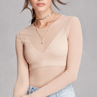 Ruffled Sheer Mesh Top