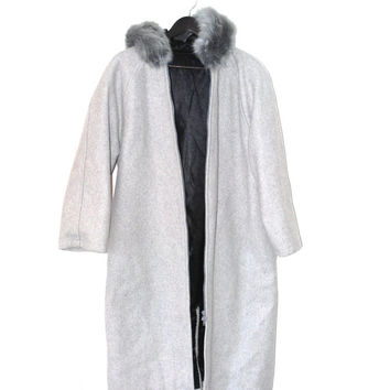 long grey WOOL parka minimalist HANDMADE winter coat neutral wool vegan FUR hood anorak winter jacket os