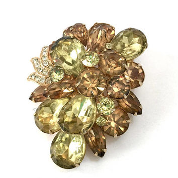 Eisenberg Floral Brooch, Jonquil Tear Drop Chaton, Topaz Marquis Tear Drop Chaton Rhinestones, Layered, Vintage Statement Designer Signed