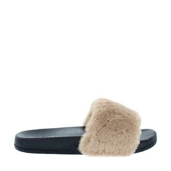 Fluffy Slipper Slide (CAMEL)