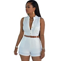 Shorts Rompers Womens Jumpsuits Summer Ladies Sexy Deep V Neck Short Sleeve Bodysuit Casual Overalls Women Jumpsuit With Belt