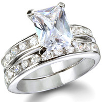 The Princess Sterling Silver CZ Engagement Ring Set