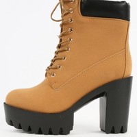 Two Tone Lug Sole Thick Heel Boots | MakeMeChic.com