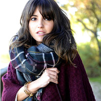 Dark Green Plaid Long Scarf